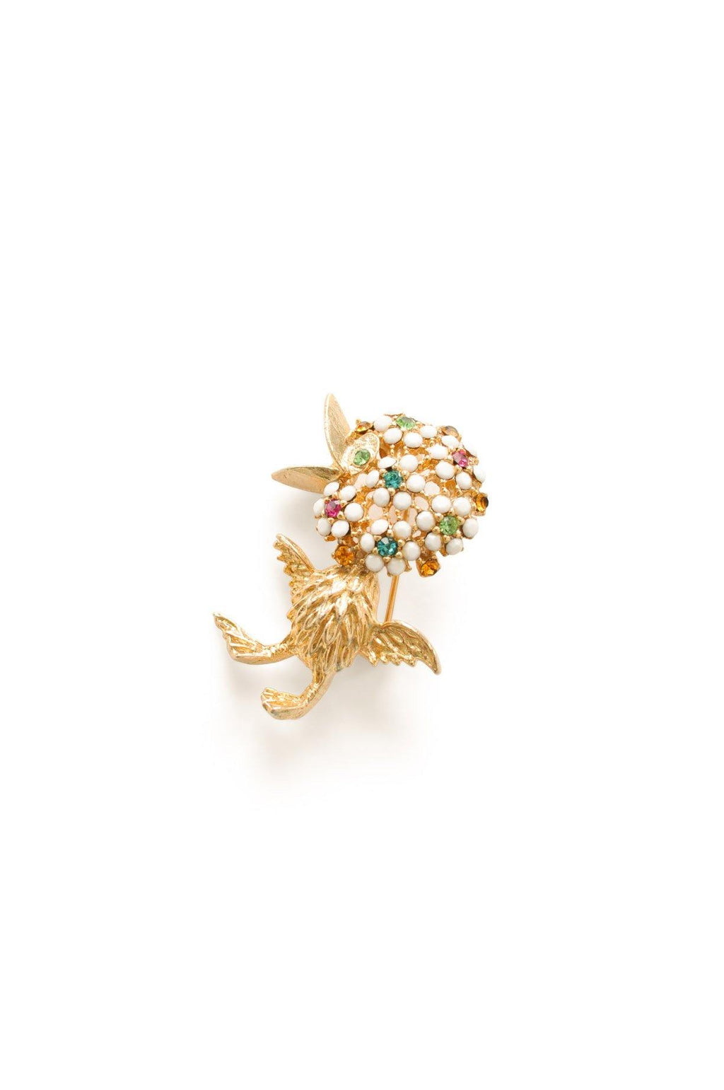 Gold and Rhinestone Bird Brooch