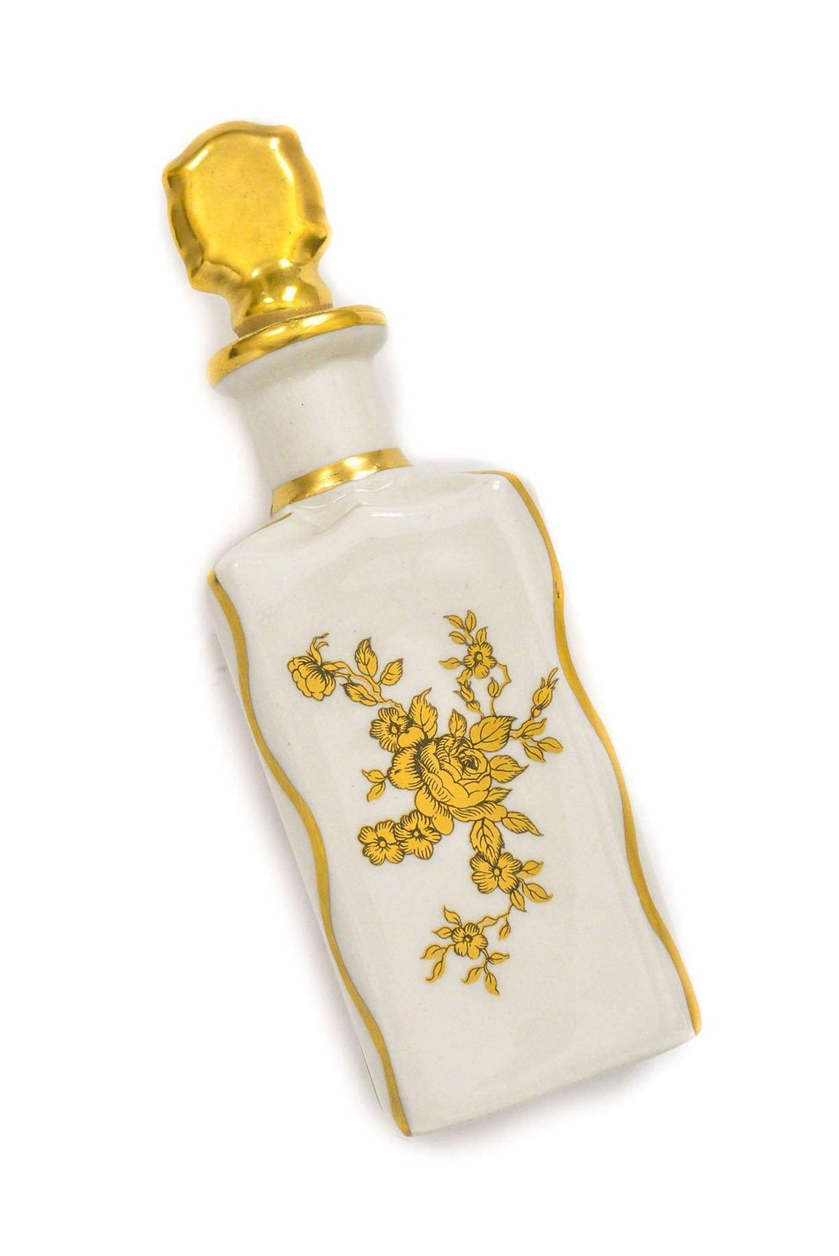 Vintage White and Gold Floral Perfume Bottle from Sweet and Spark