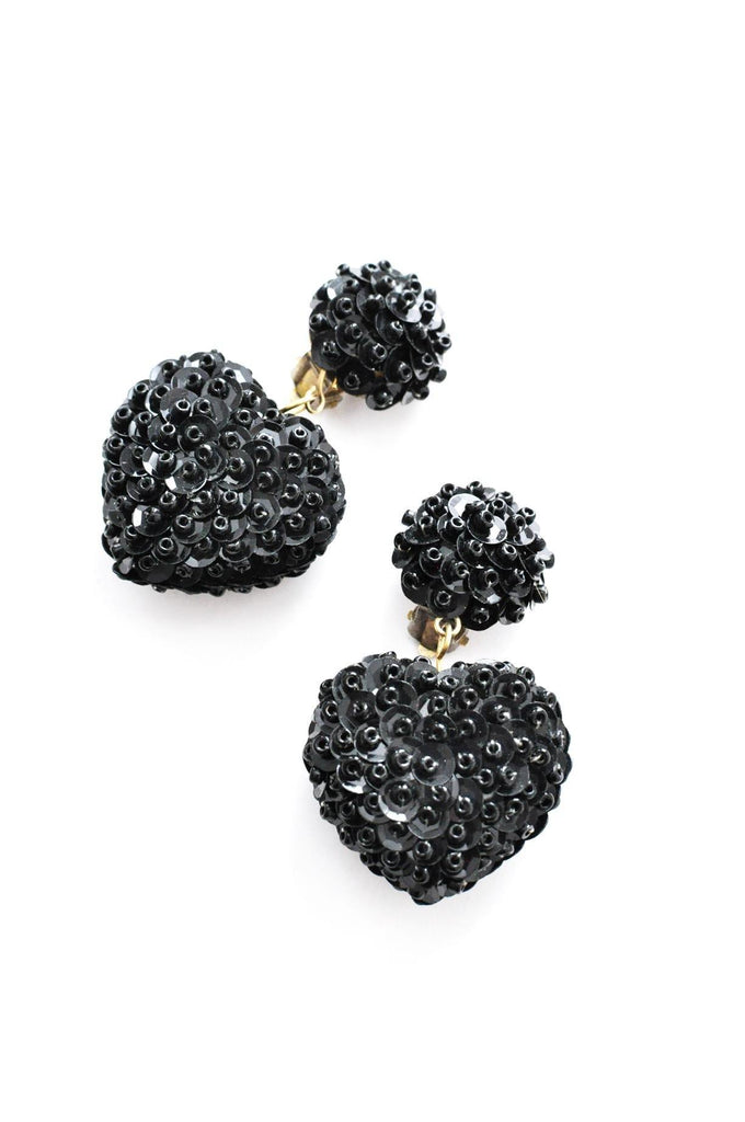 Sequin Heart Clip-on Earrings