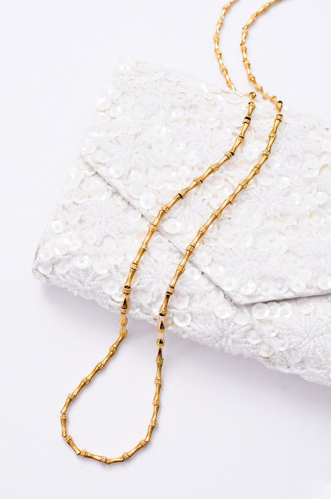 Long Gold Bamboo Chain Necklace