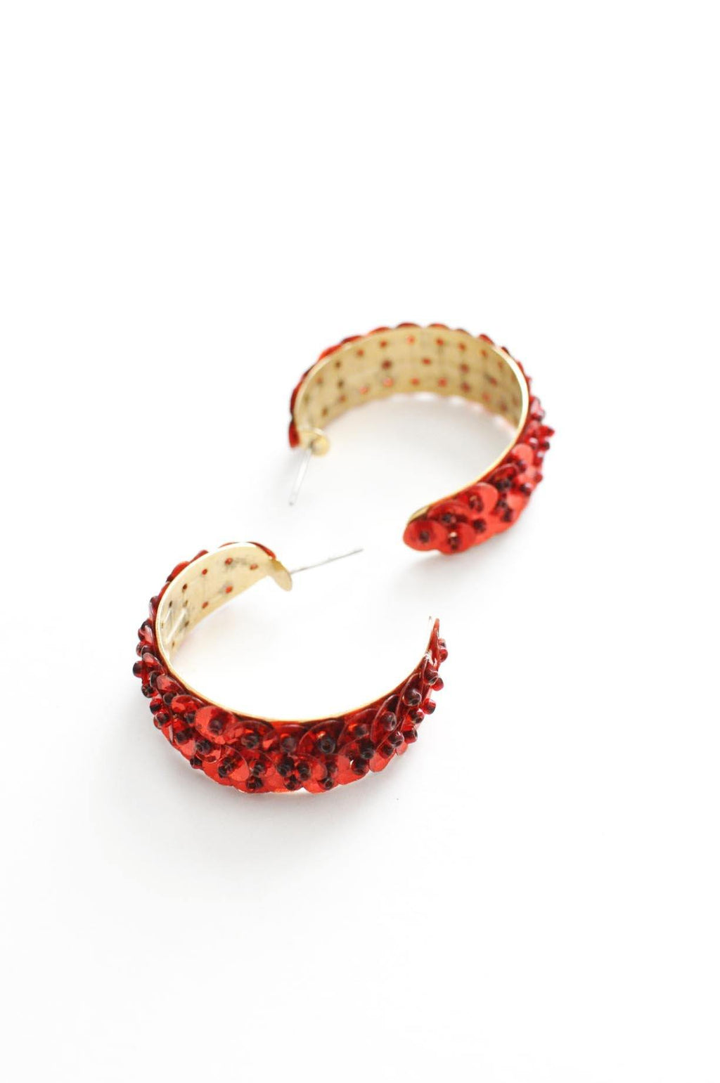 Red Sequin Hoop Pierced Earrings