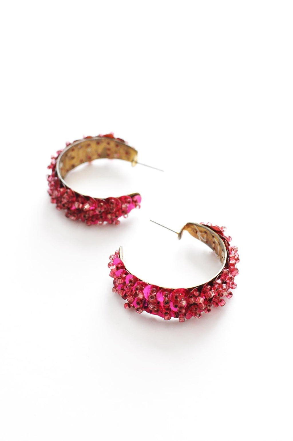 Pink Sequin Hoop Pierced Earrings