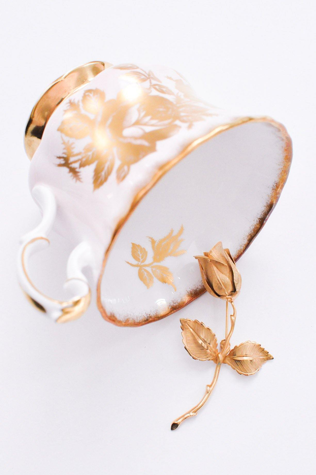 Gold Rose Brooch
