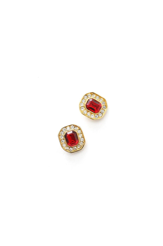 Red Rhinestone Pierced Earrings