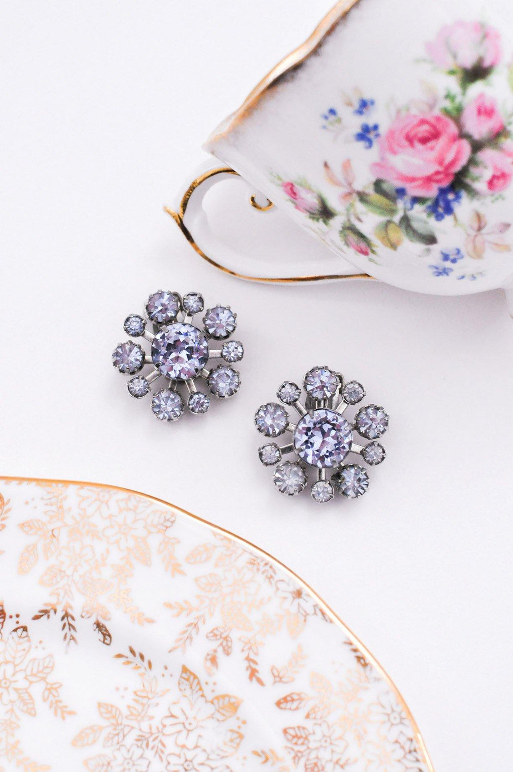 Purple Floral Clip-on Earrings