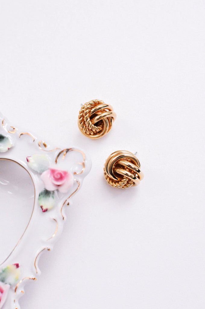 Gold Knot Pierced Earrings