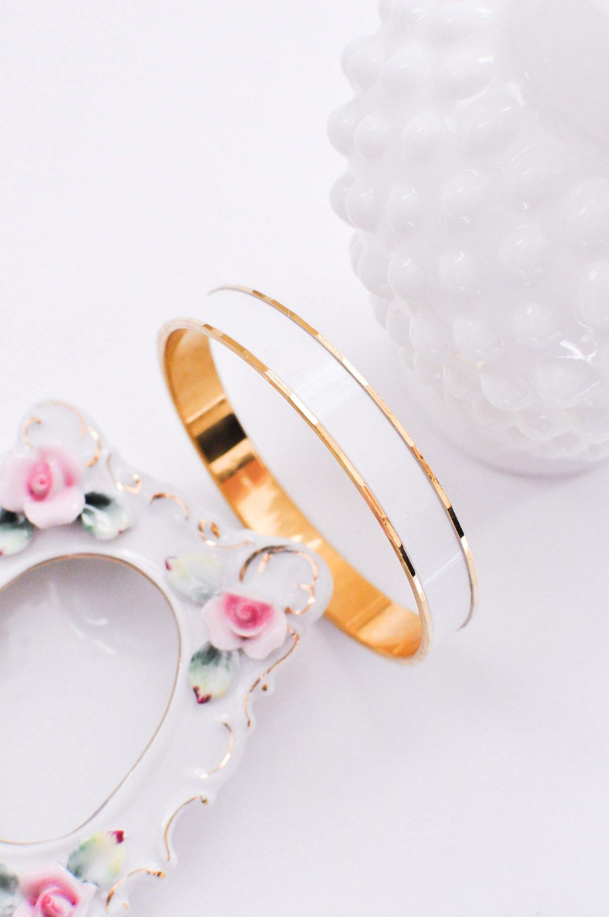 White Enamel Bangle Bracelet