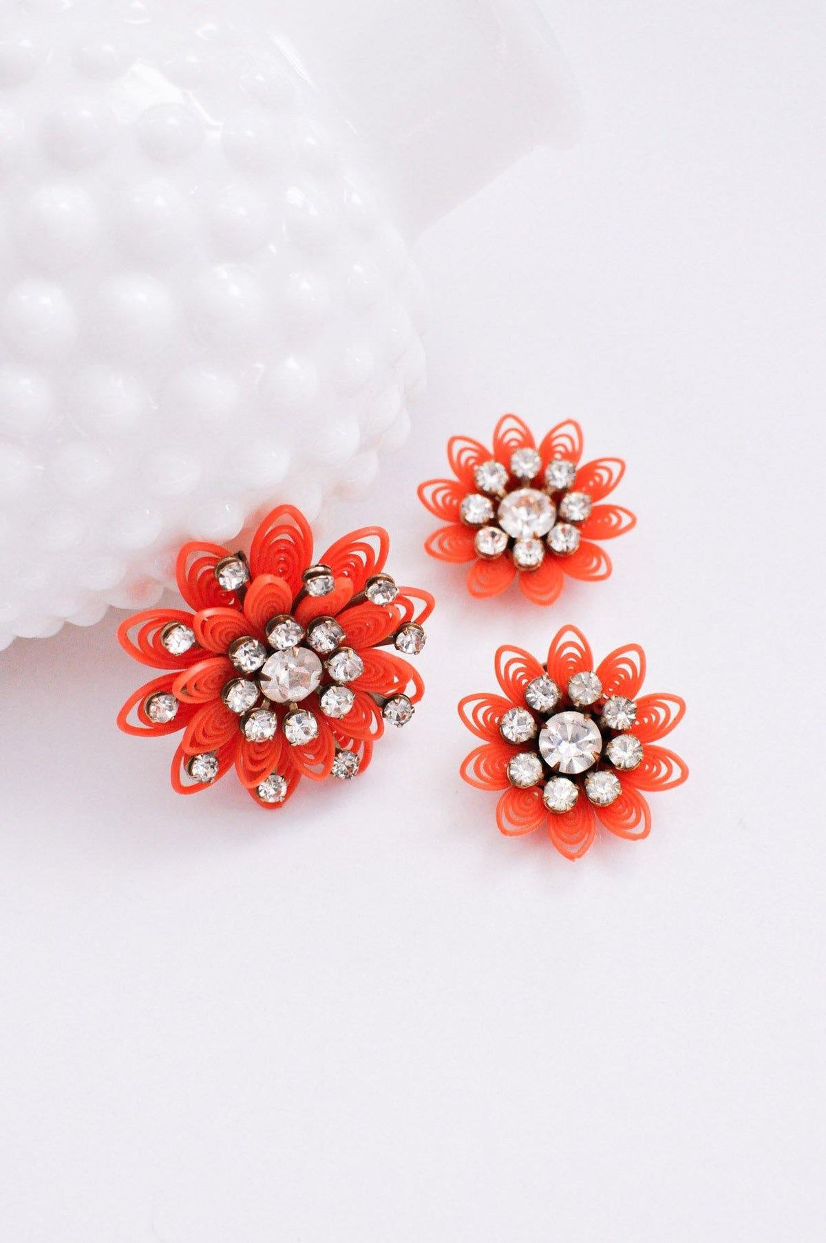 Orange Floral Clip-on Earrings