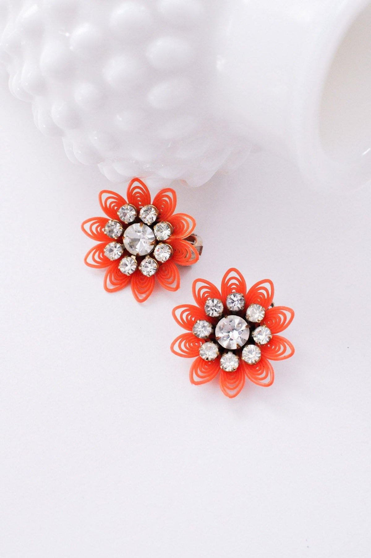 Orange Floral Clip-on Earrings from Sweet & Spark