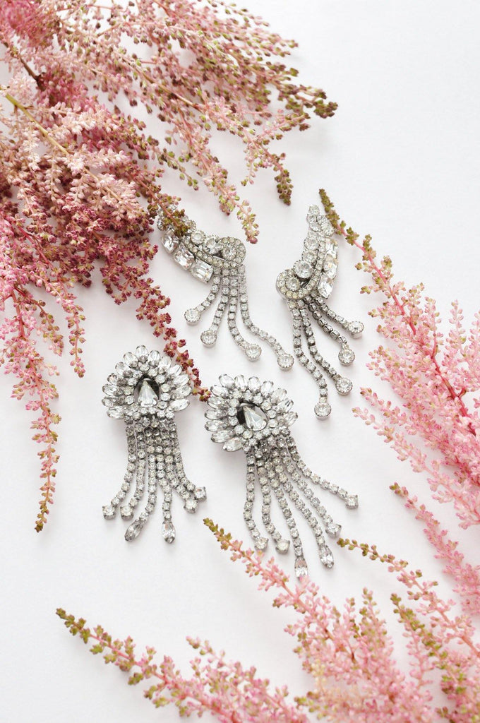 Rhinestone Statement Fringe Clip-on Earrings