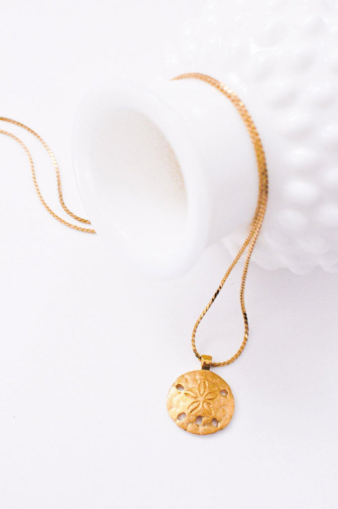 Brushed Gold Sand Dollar Necklace