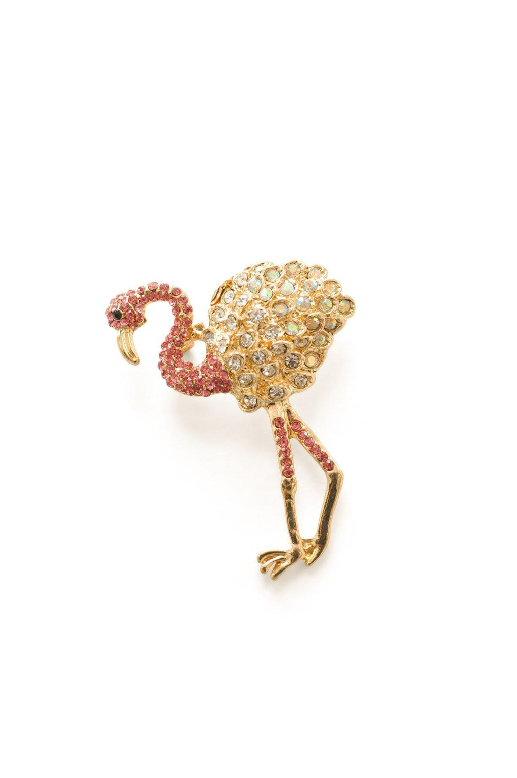 Rhinestone Flamingo Brooch