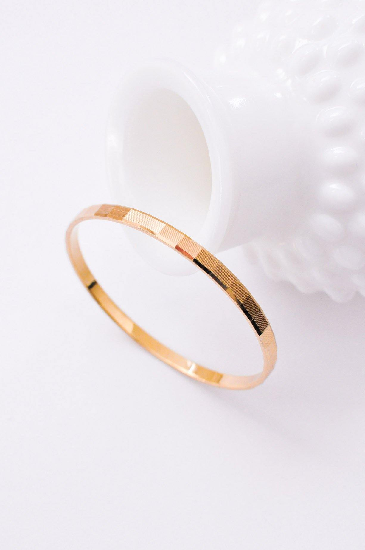 Thin Etched Bangle Bracelet