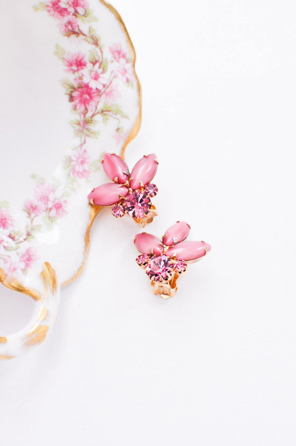 Pink Rhinestone Clip-on Earrings