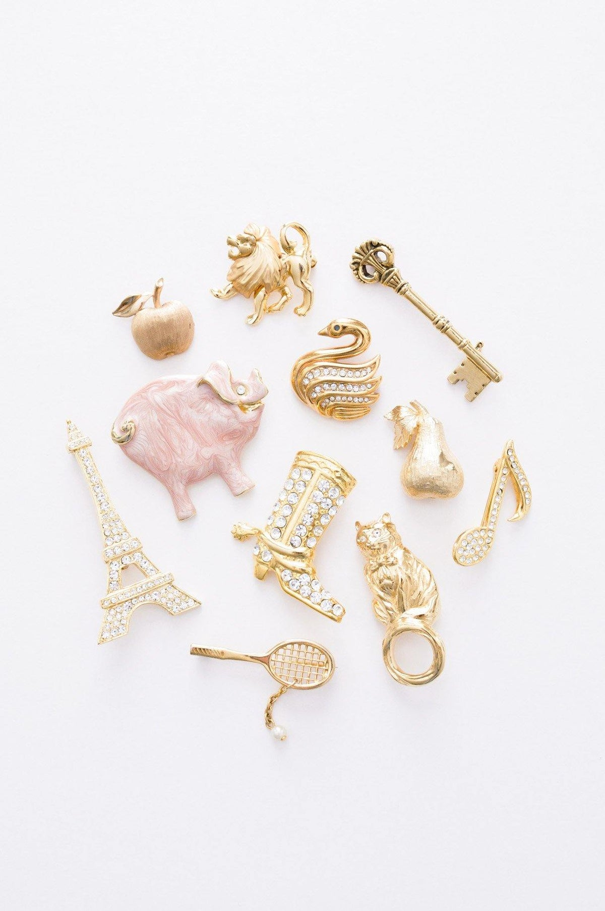 Conversational brooches from Sweet & Spark Vintage Jewelry.