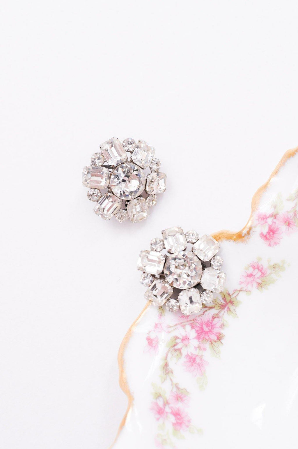 Rhinestone Round Clip-on Earrings