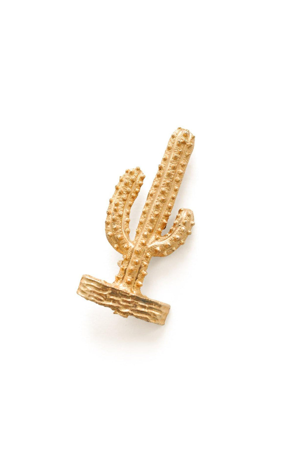 Gold Cactus Brooch