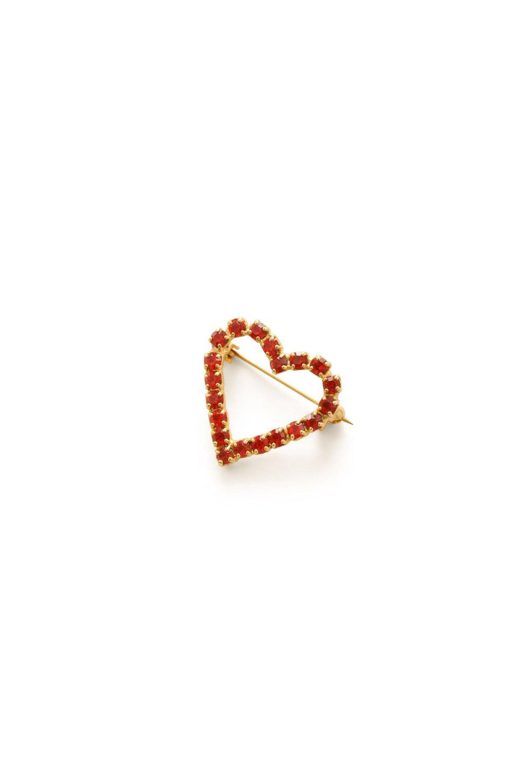 Red Heart Rhinestone Brooch