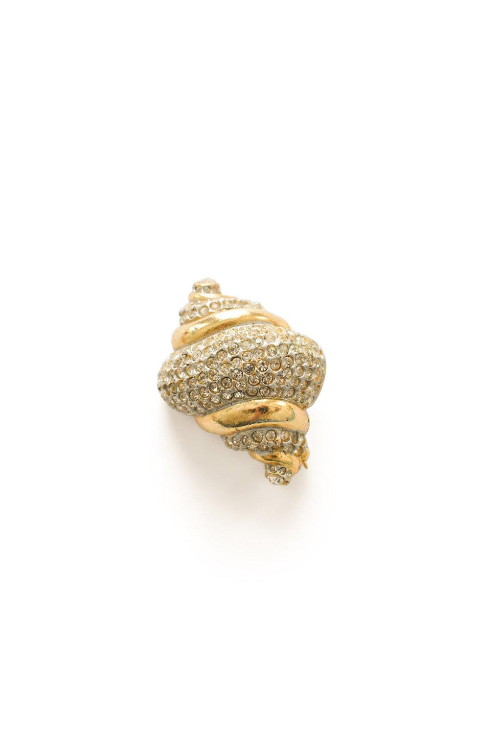Gold and Rhinestone Seashell Brooch