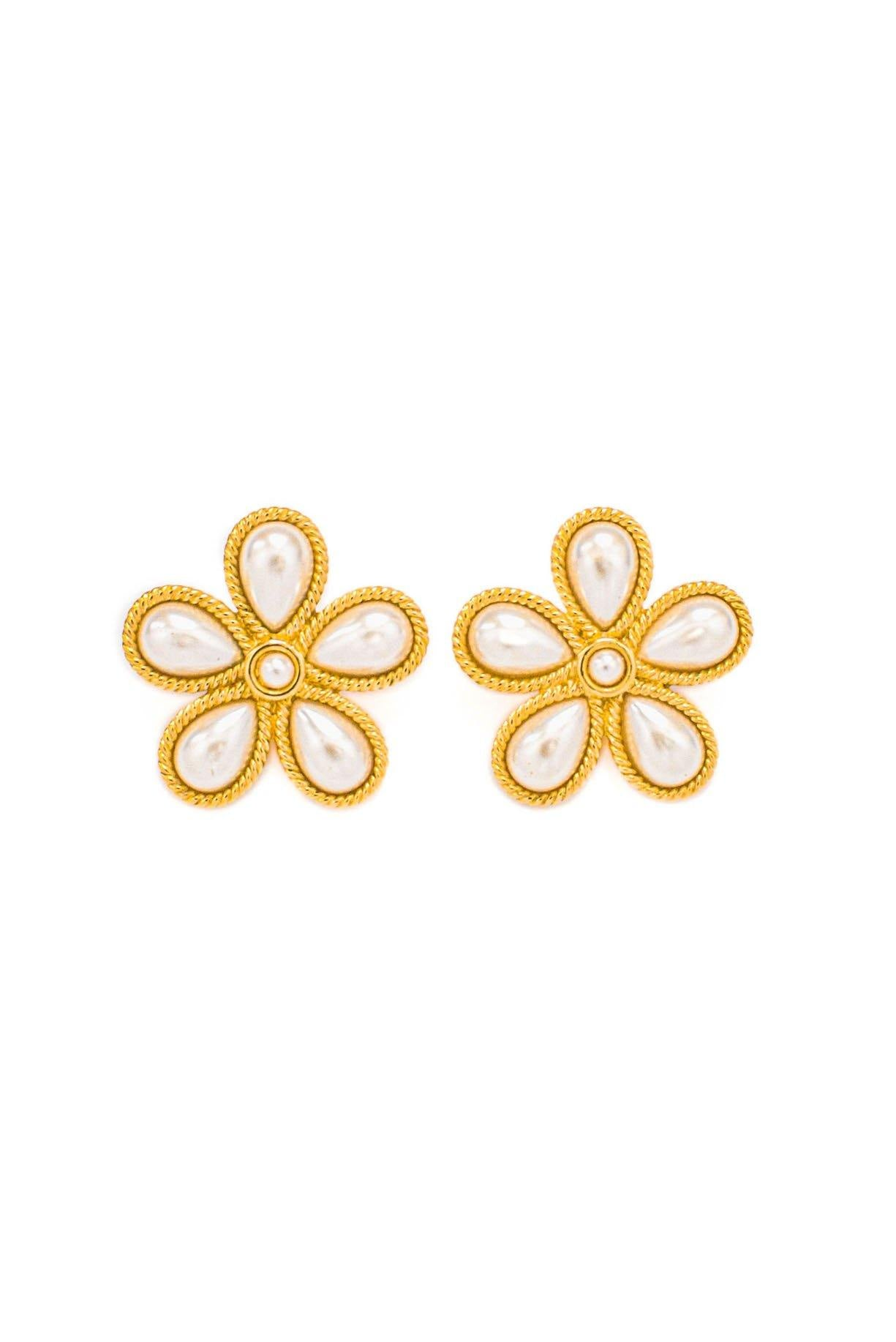 Vintage Pearly Gold Clip-on Flower Earrings from Sweet and Spark