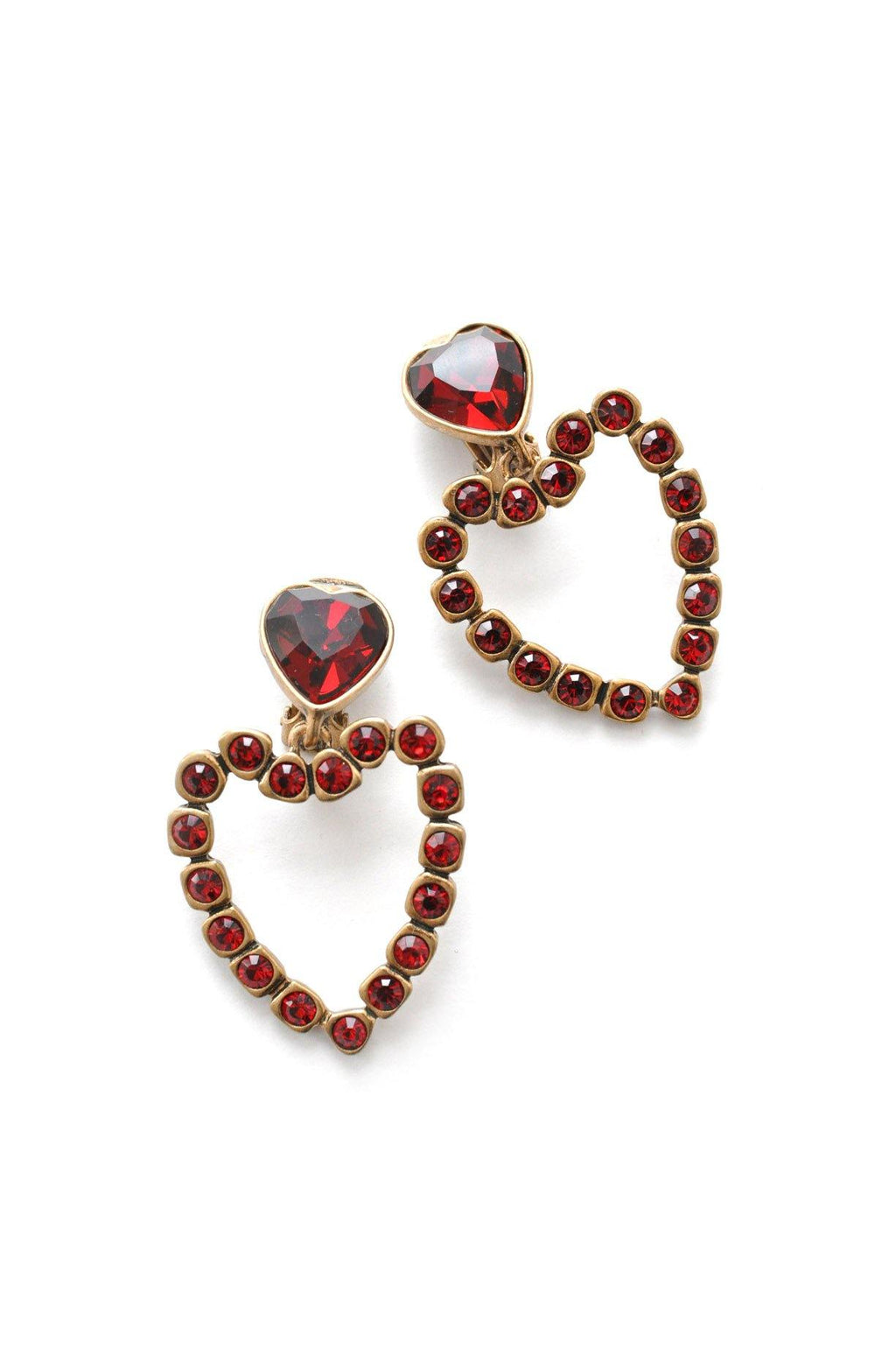Oscar de la Renta Heart Clip-on Earrings