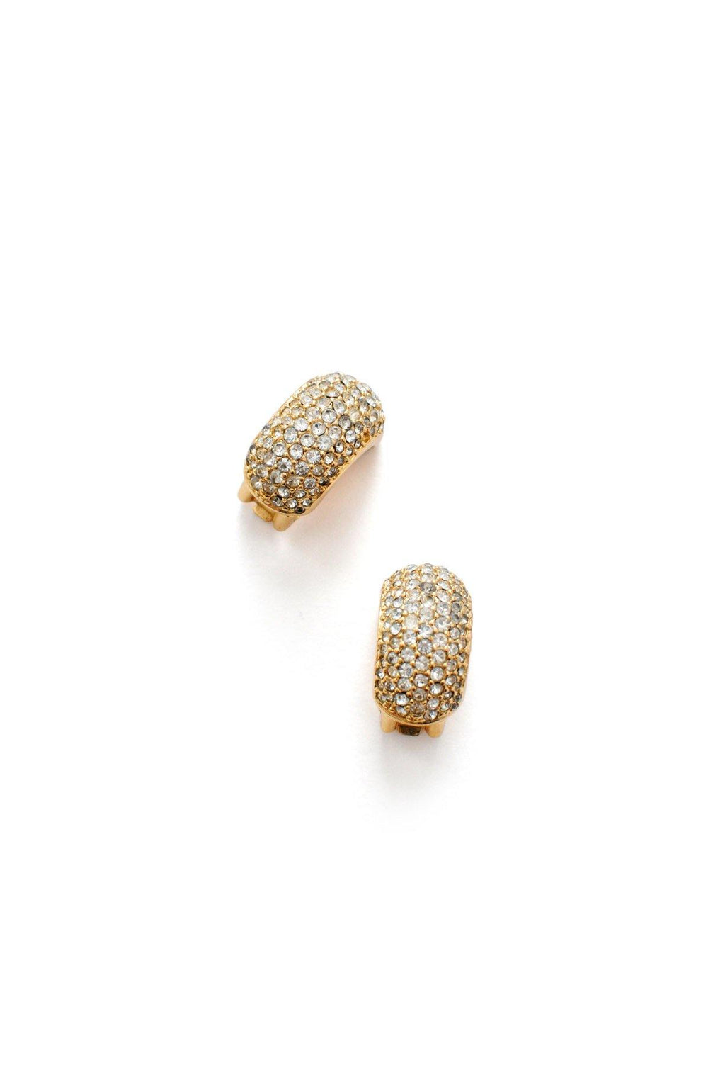 Christian Dior Rhinestone Hoop Clip-on Earrings