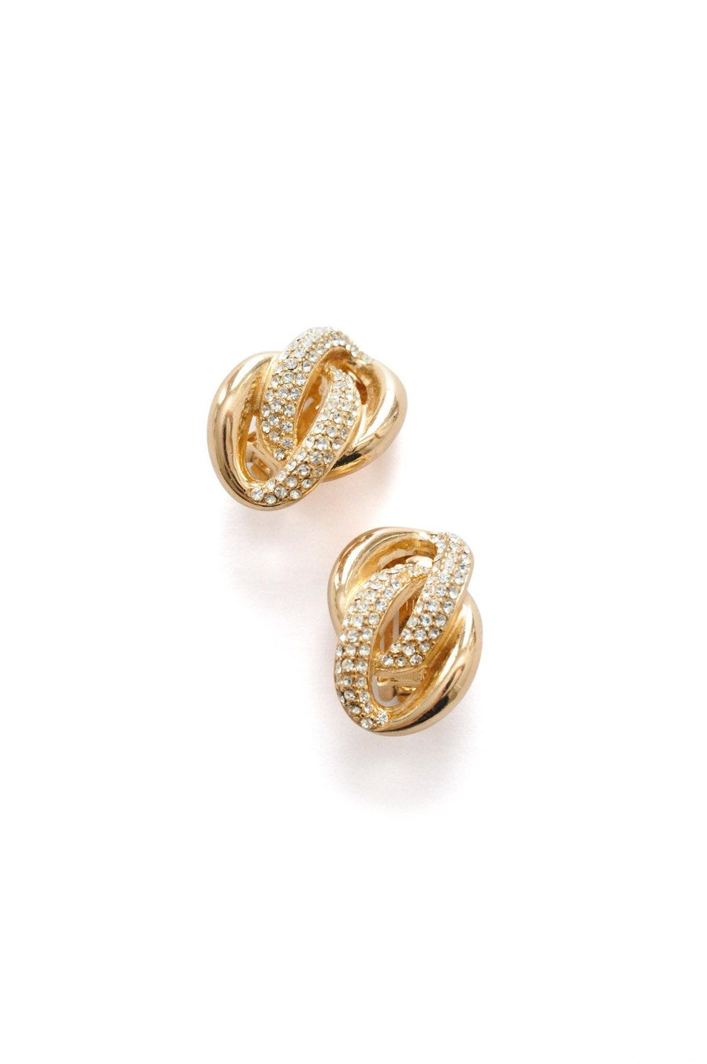 Christian Dior Rhinestone Knot Clip-on Earrings