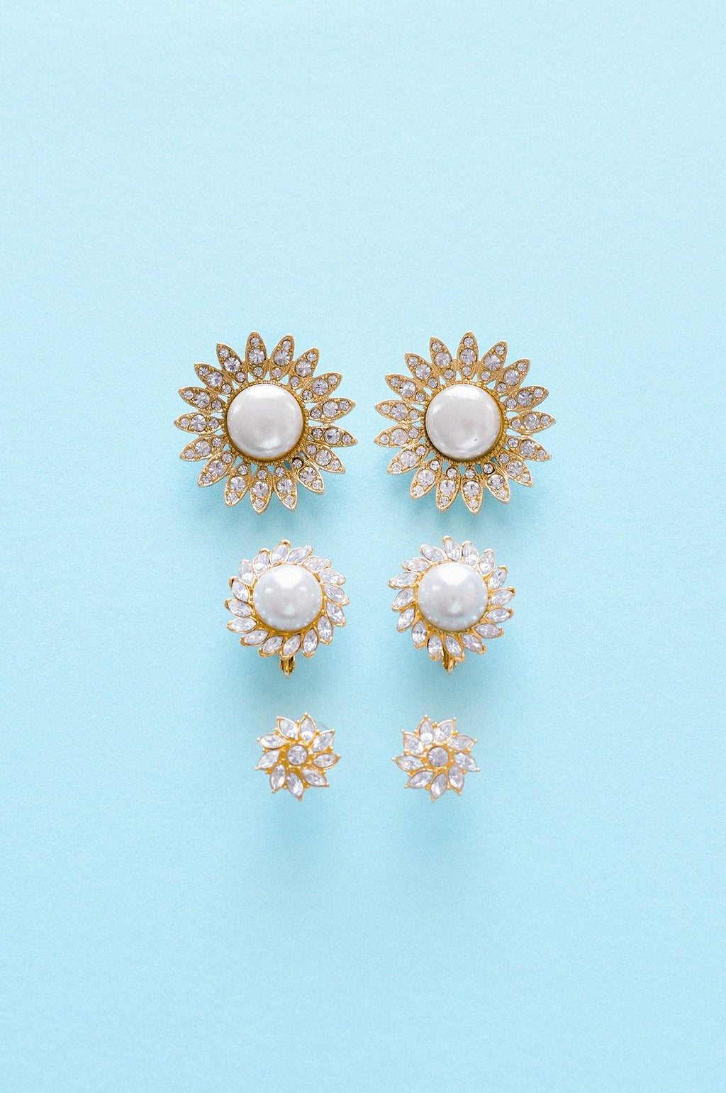 Pearl Sunflower Clip-on Earrings