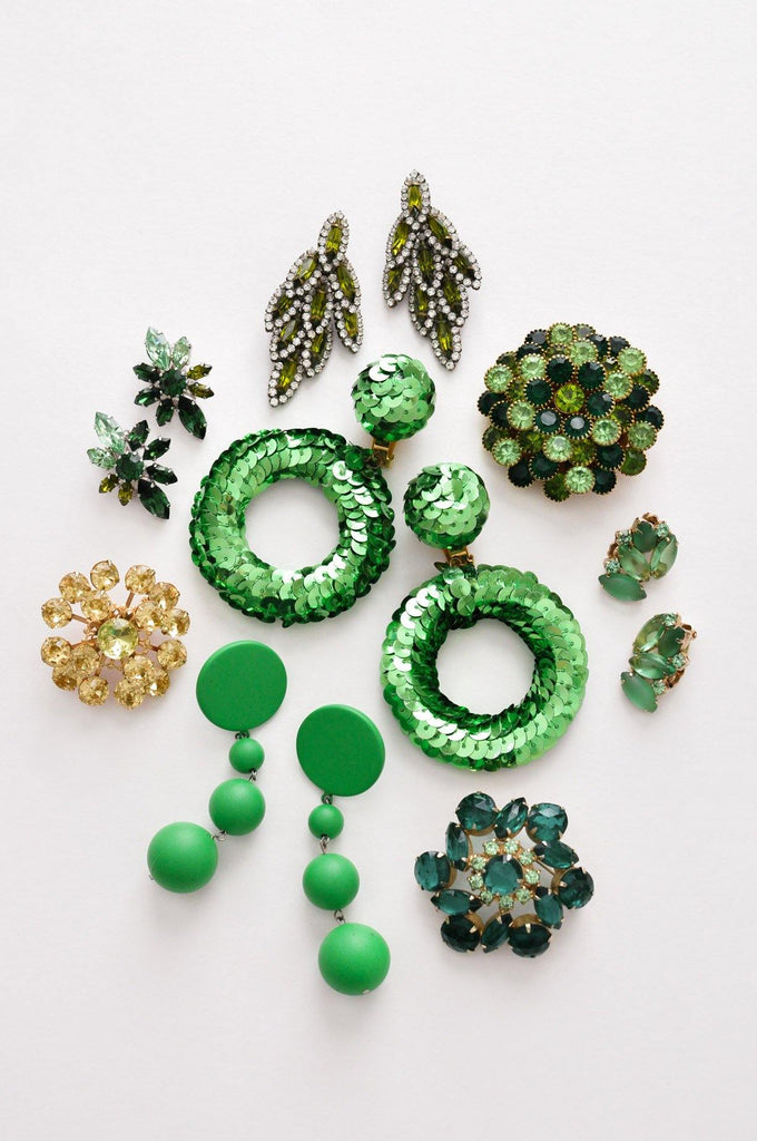 Green Rhinestone Clip-on Earrings