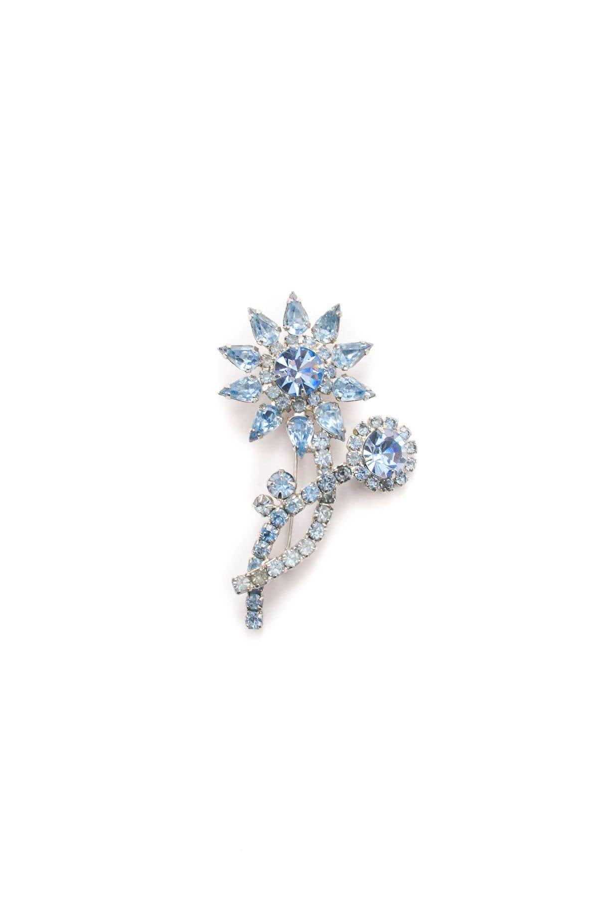 Vintage Blue Rhinestone Stem Brooch from Sweet and Spark.