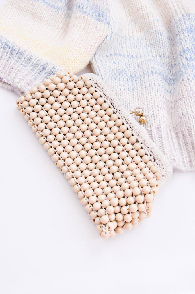 Nude Beaded Clutch
