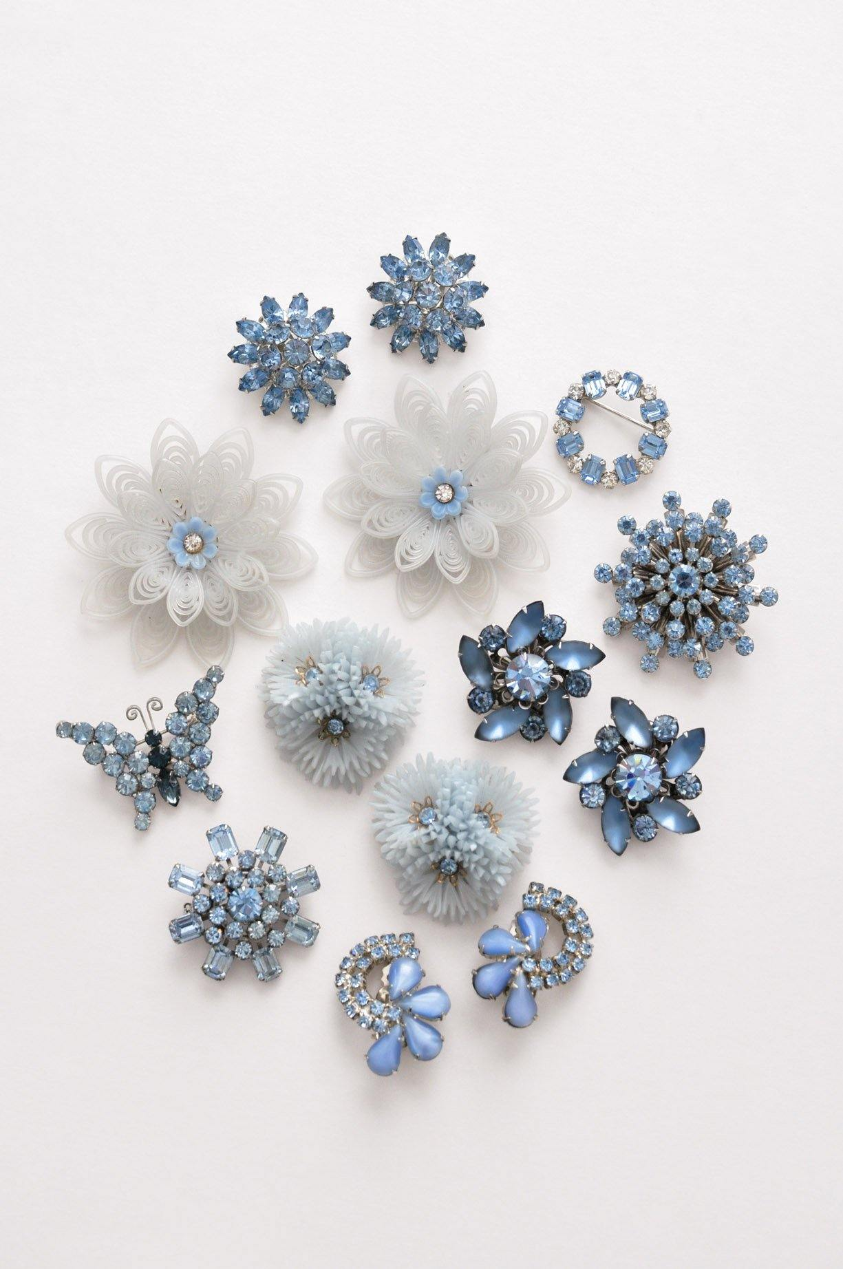 Blue Floral Cluster Clip-on Earrings