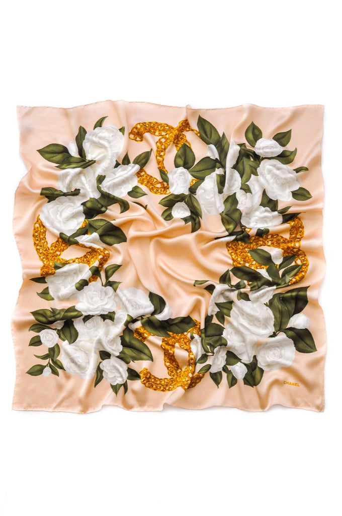 Chanel Blush Pink Camellia Florals Square Scarf