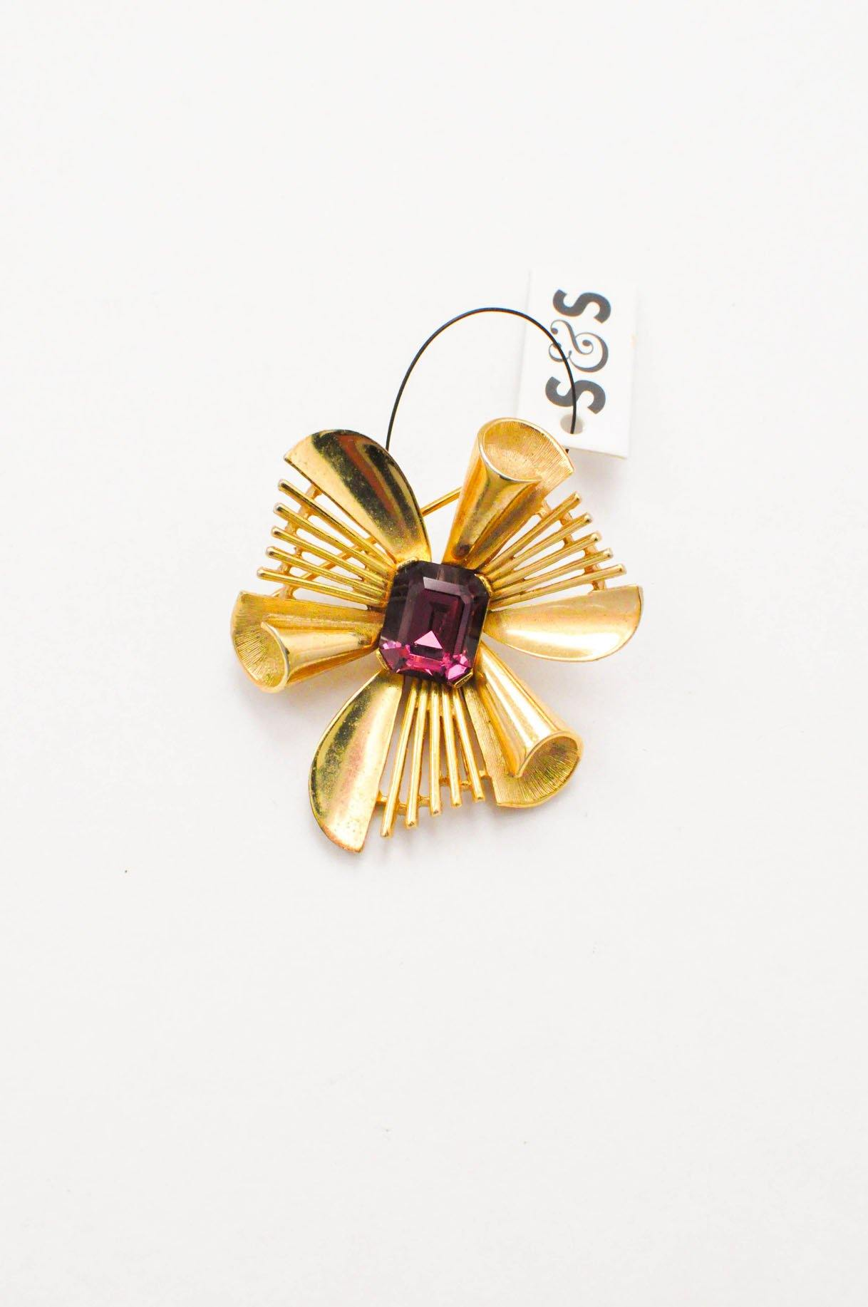 Vintage Trifari purple gem brooch from Sweet & Spark.