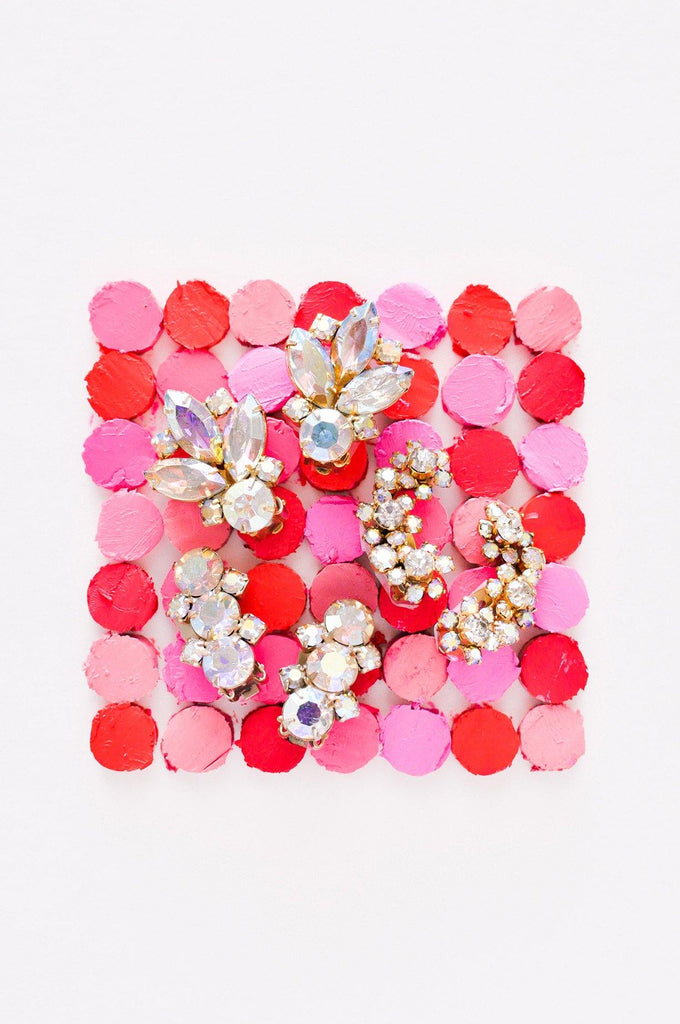 AB Rhinestone Floral Clip-on Earrings