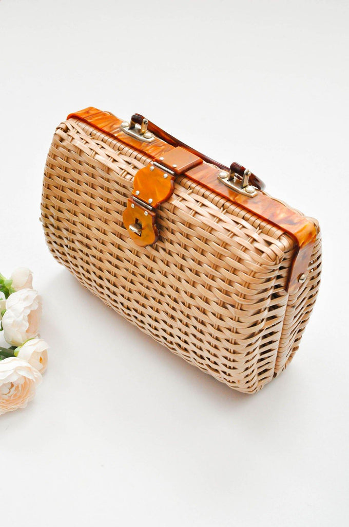 Woven Tortoise Shell Basket Bag