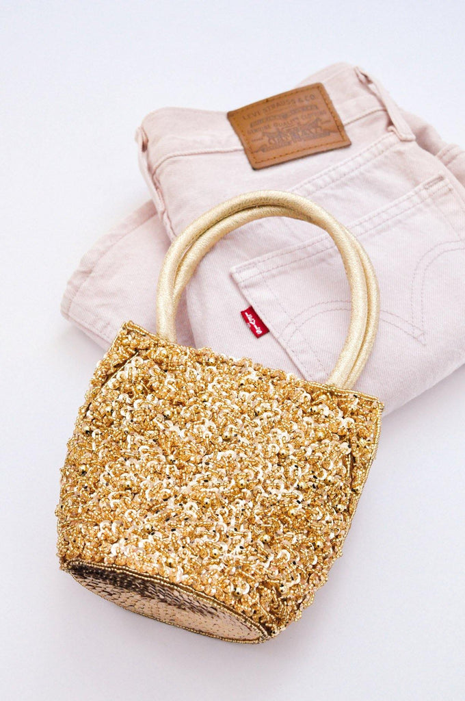 Gold Beaded Top Handle Bag