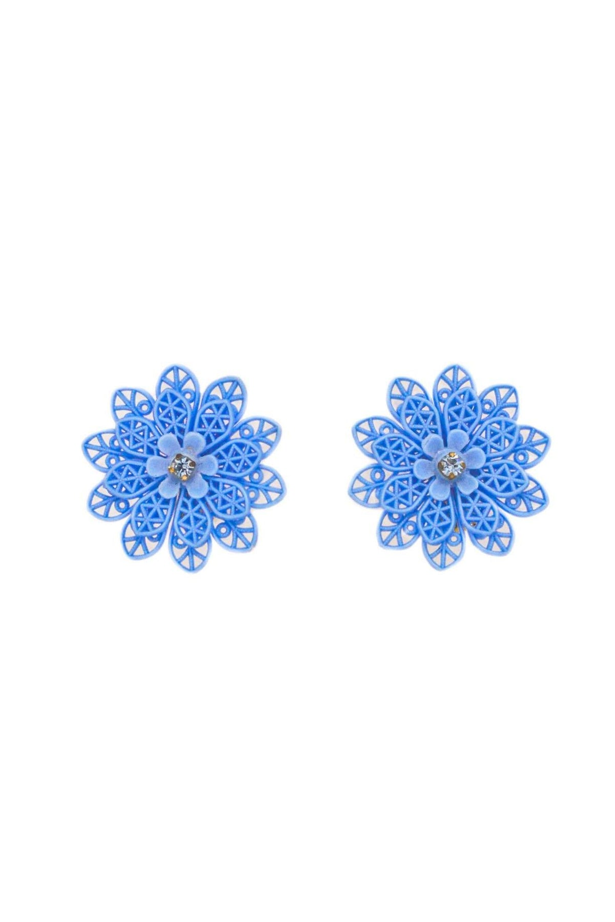 Vintage blue floral statement earrings from Sweet & Spark.