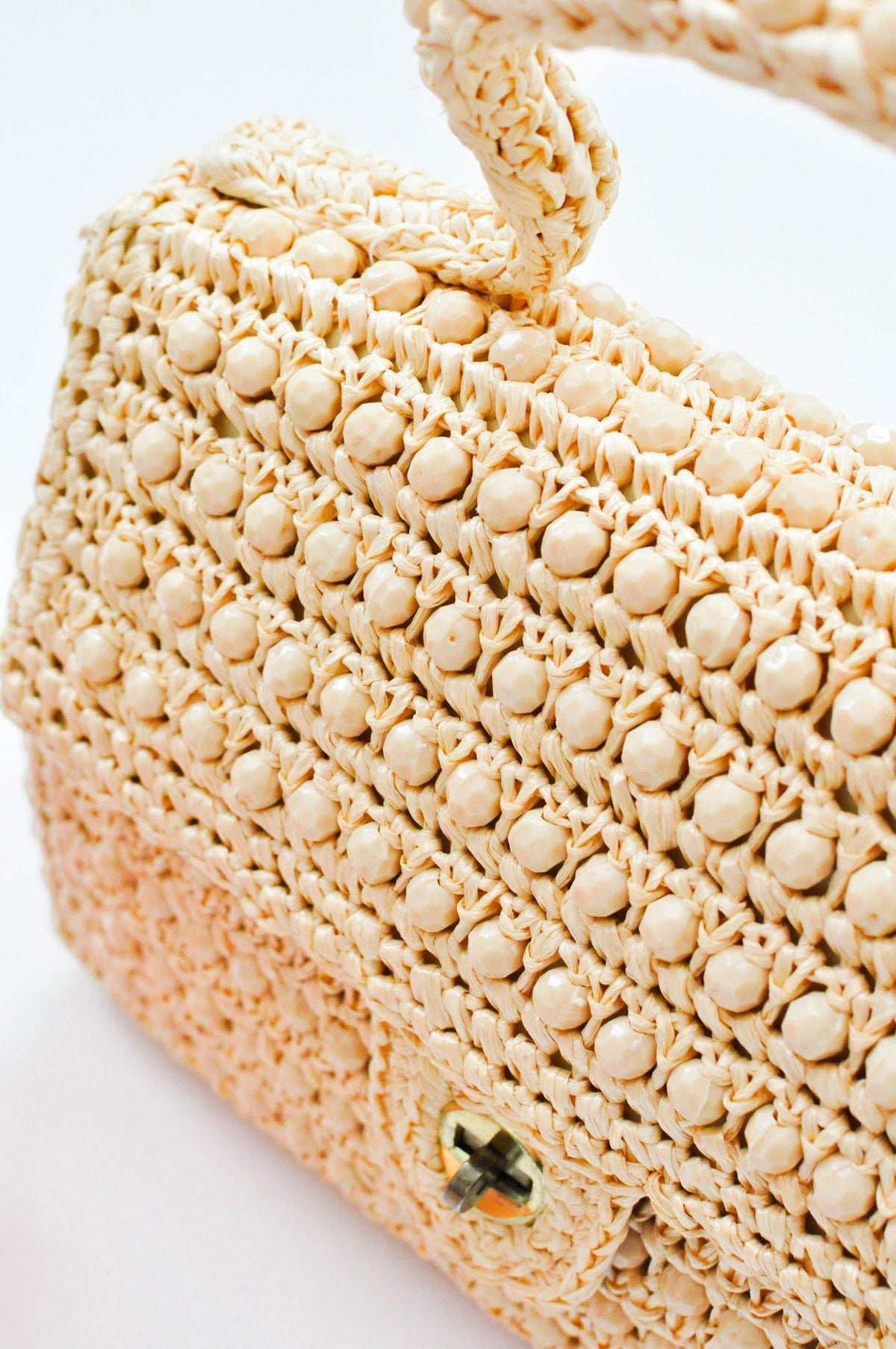 Vintage Beaded Raffia Top Handle Bag from Sweet and Spark