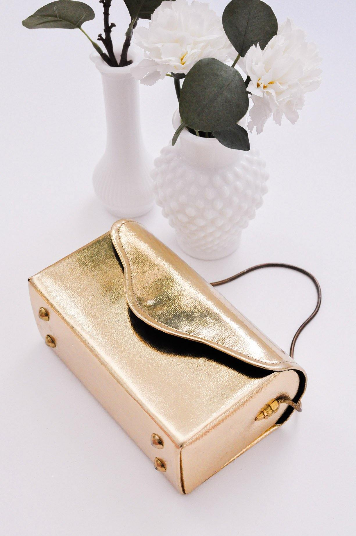 Gold Leather Box Bag