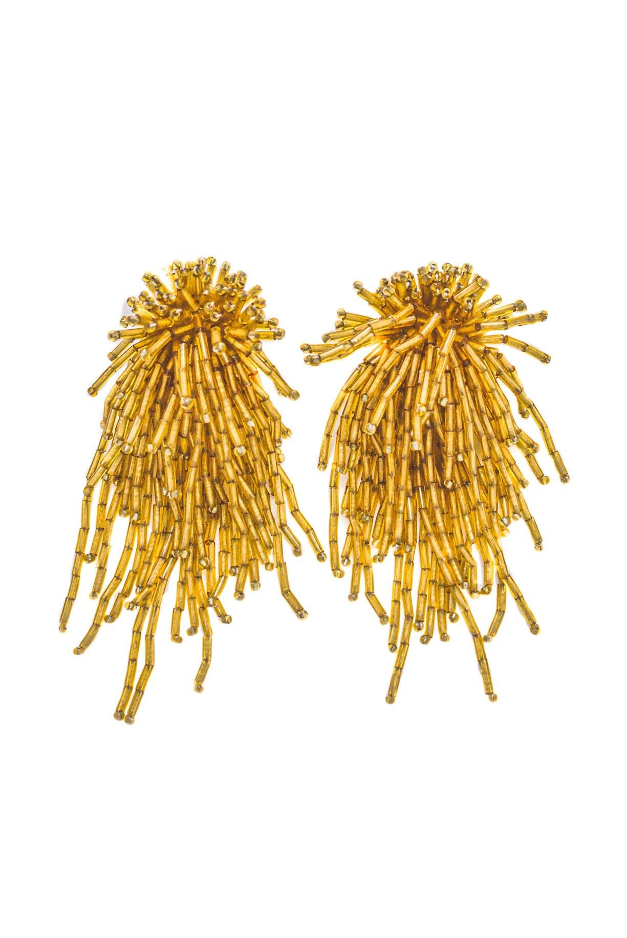 Vintage gold beaded clip-on confetti earrings.