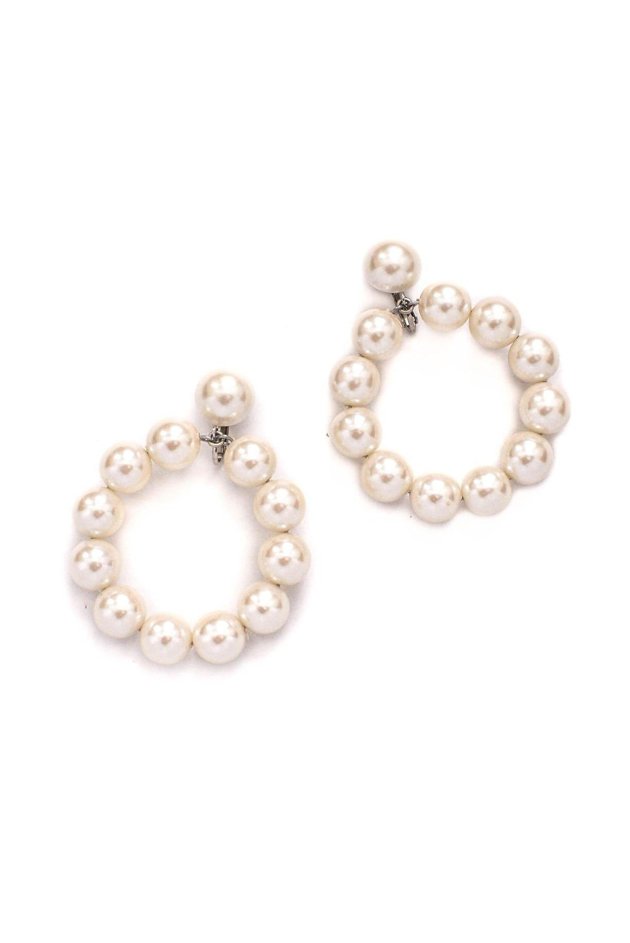 Vintage Statement Pearl Drop Clip-on Hoops