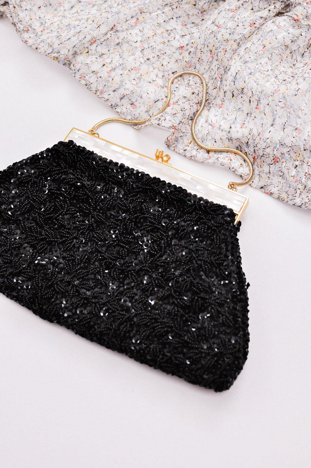 Black Beaded Hand Bag