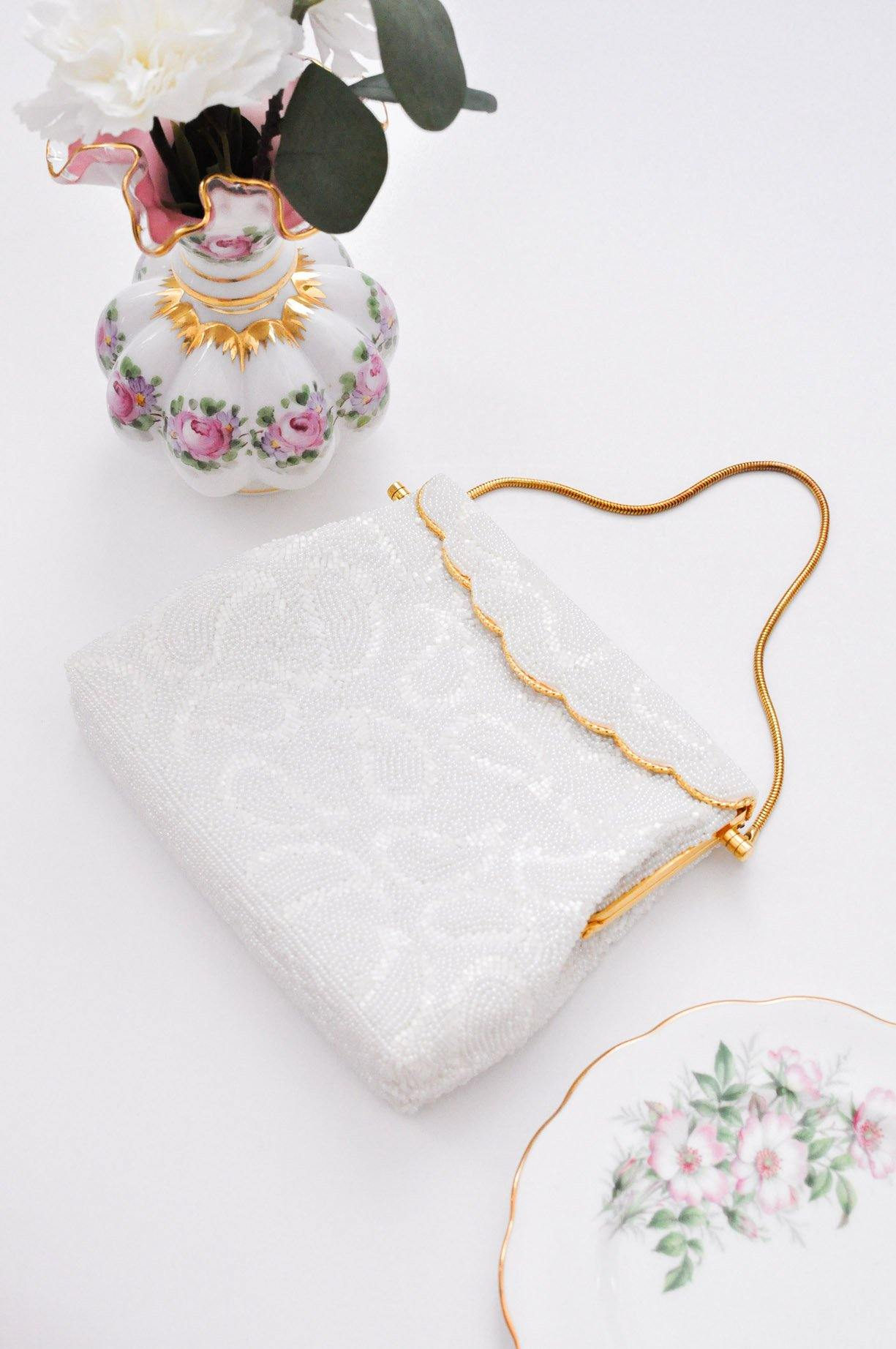 White Beaded Paisley Bag