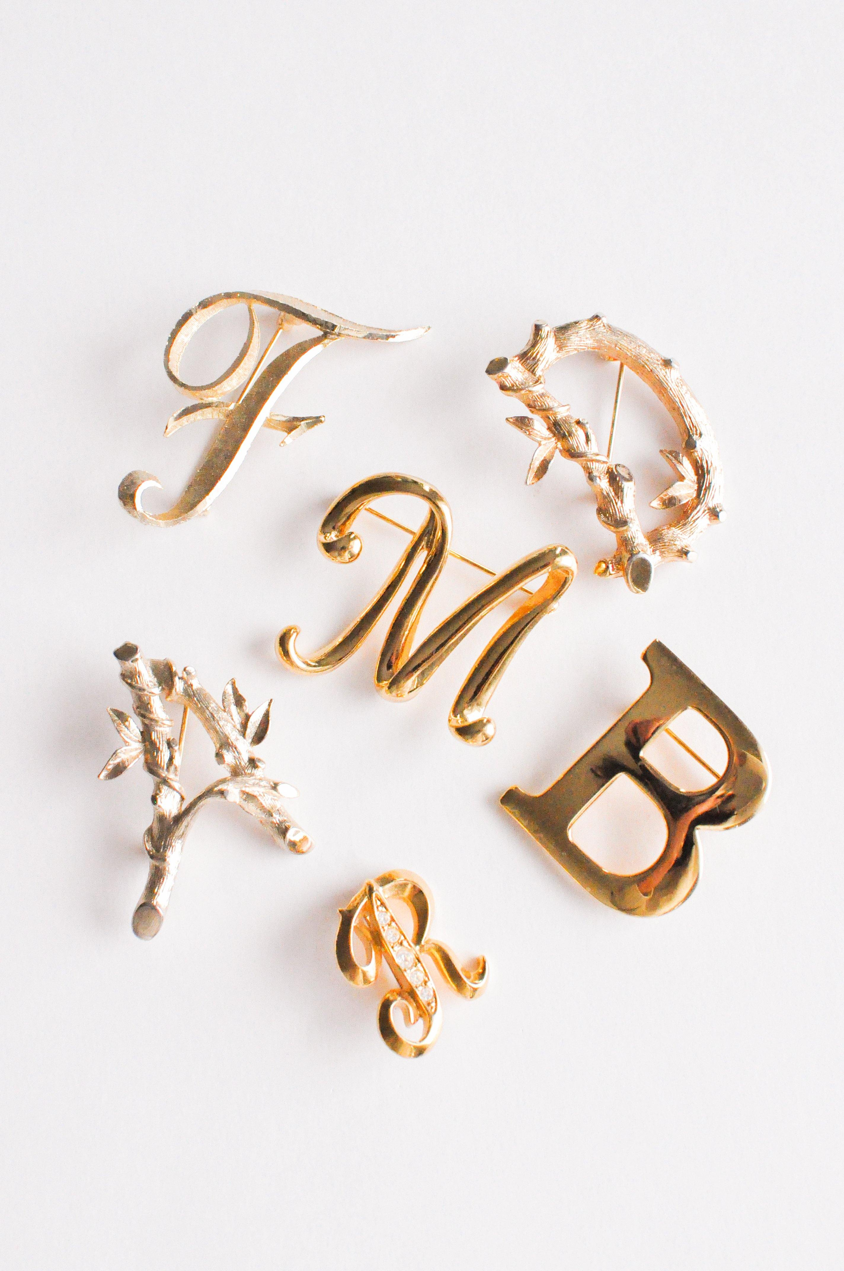 Mamselle F Initial Brooch