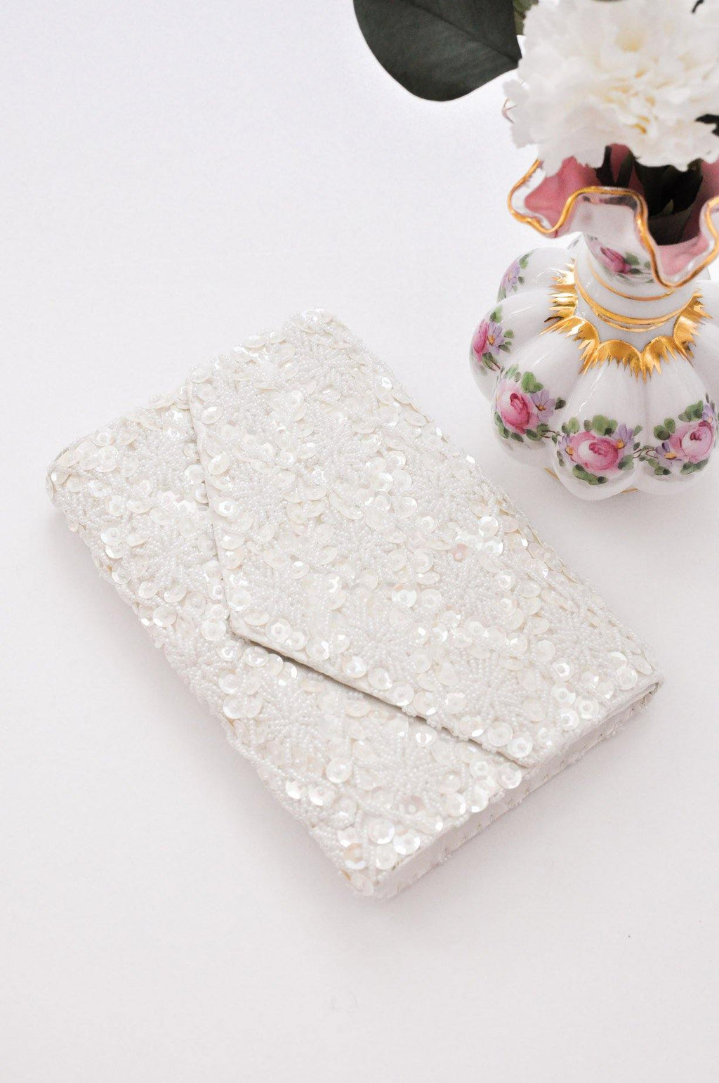 Cream Beaded Floral Clutch