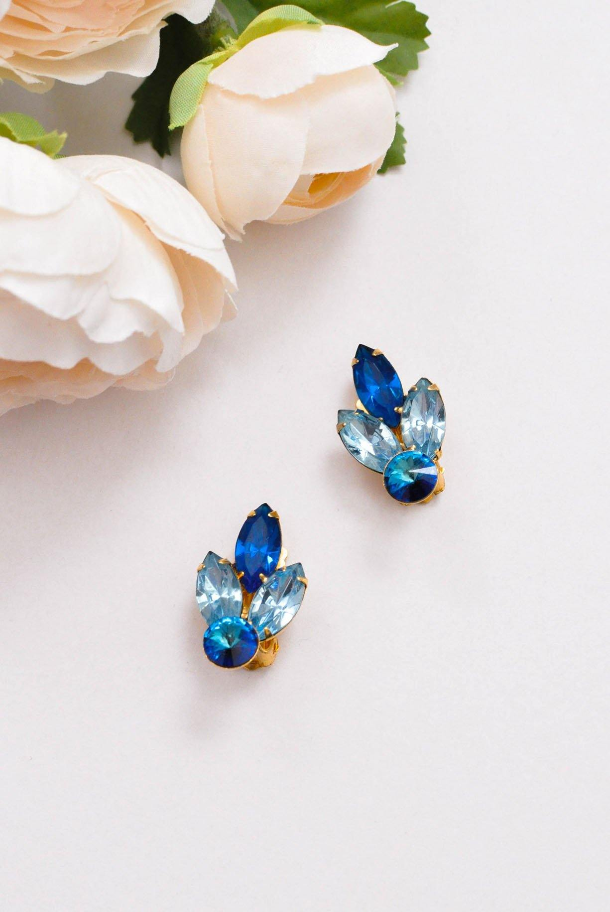 Blue rhinestone clip-on earrings.