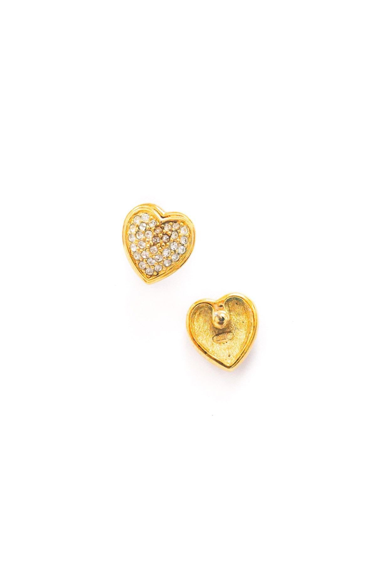 Christian Dior Rhinestone Heart Pierced Earrings