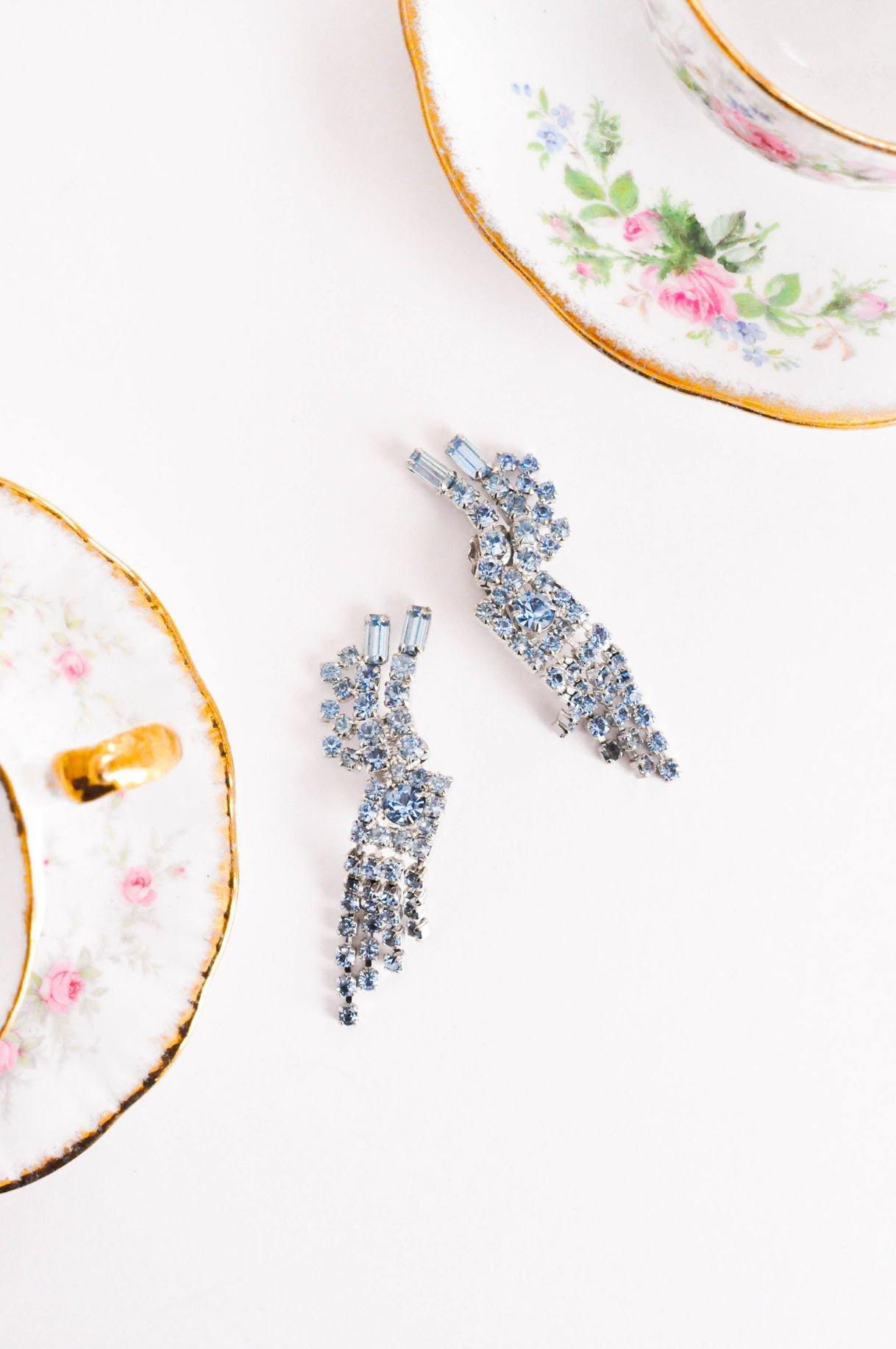 Baby Blue Rhinestone Crawler Clip-on Earrings - Sweet & Spark