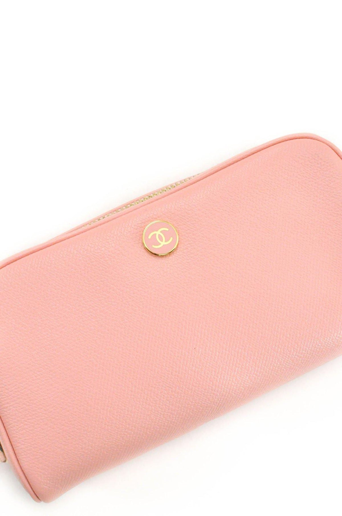 Vintage Chanel Pink Leather Zip Pouch from Sweet and Spark